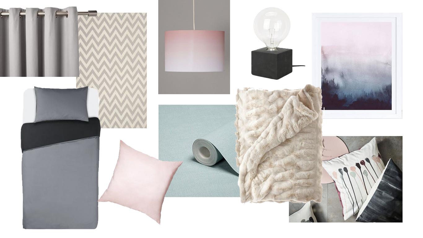 Bedroom Mood Board - Inky greys, bues pinks and black