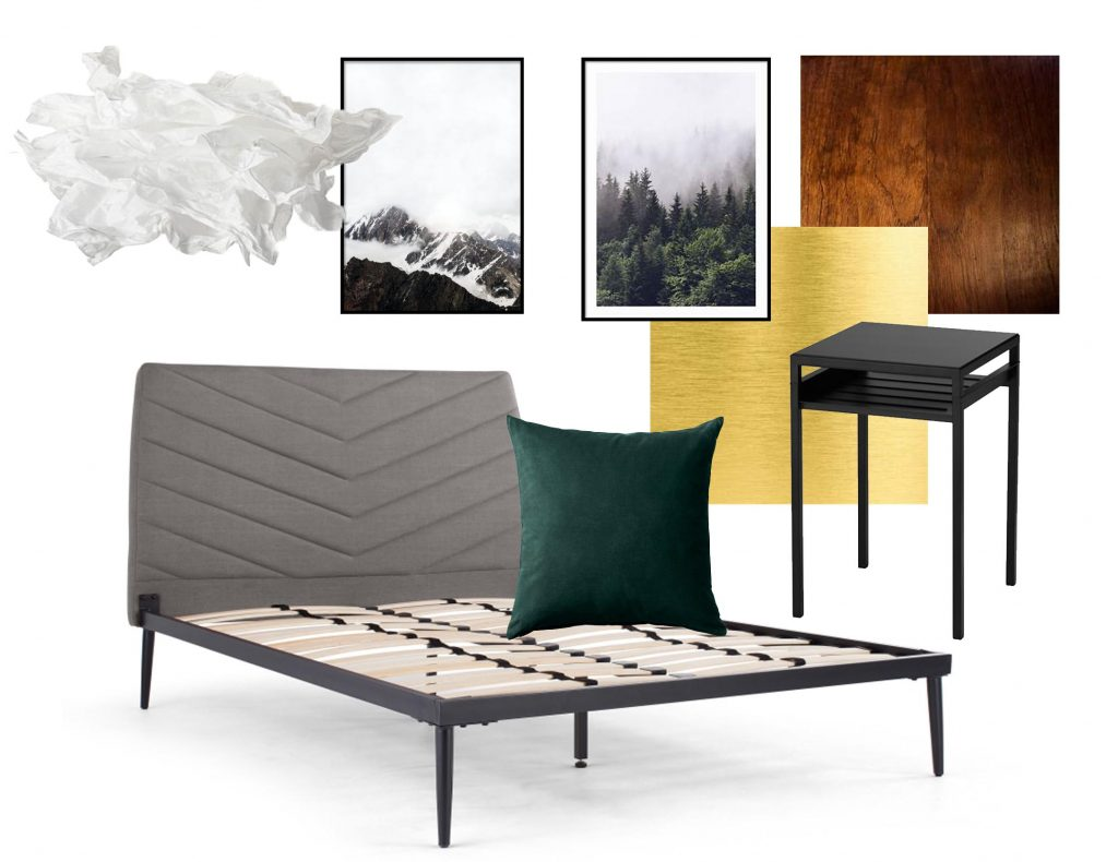 Bedroom MoodBoard, green & gold. Black & white