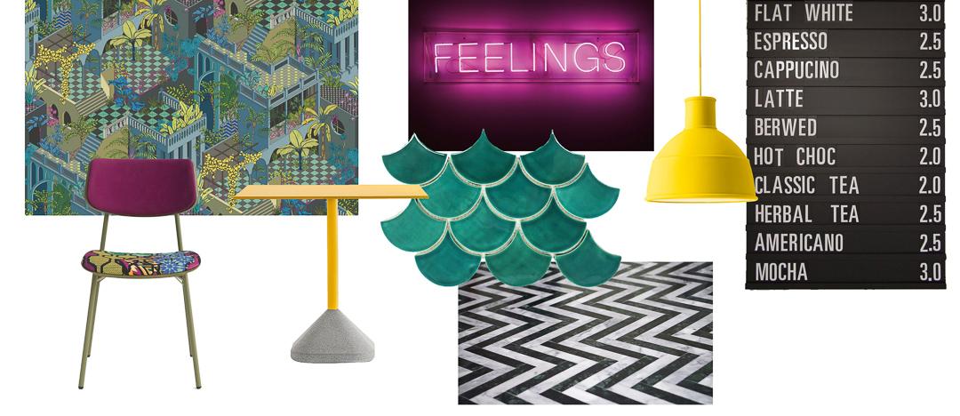 vibrant mood board, coffee shop mood board, cafe mood board, cafe design, cafe, colourful cafe, vibrant cafe, fun cafe, interior design, hospitality design, coffee shop design