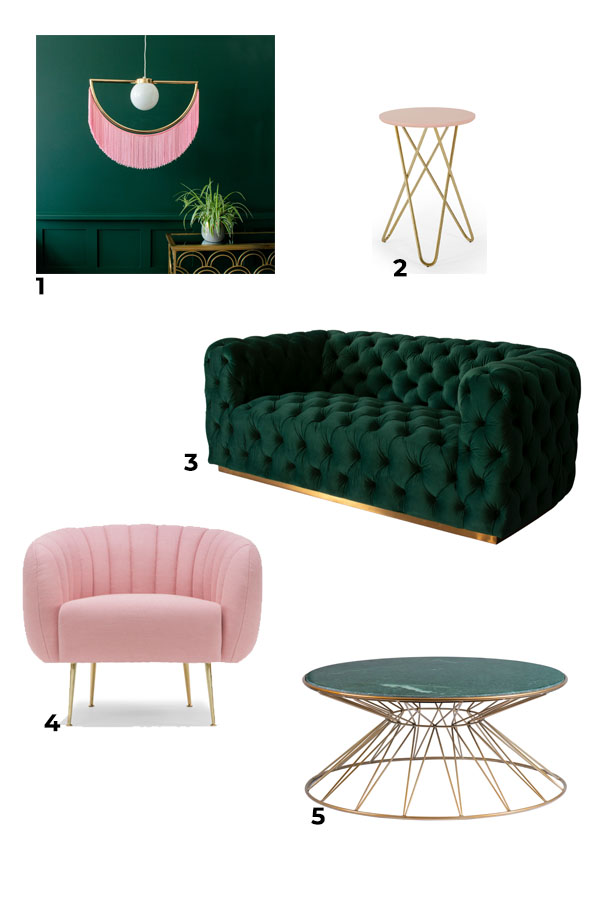 Mood board of green, pink and gold living room design