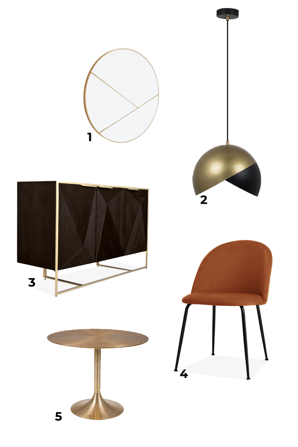 Mood Board for a warm stylish dining room