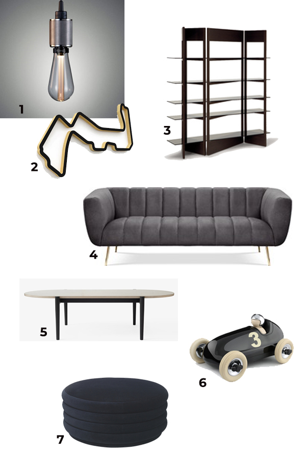 Masculine living room design mood board with automotive references