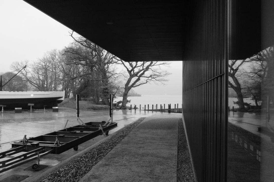 Architecture, building framing the landscape